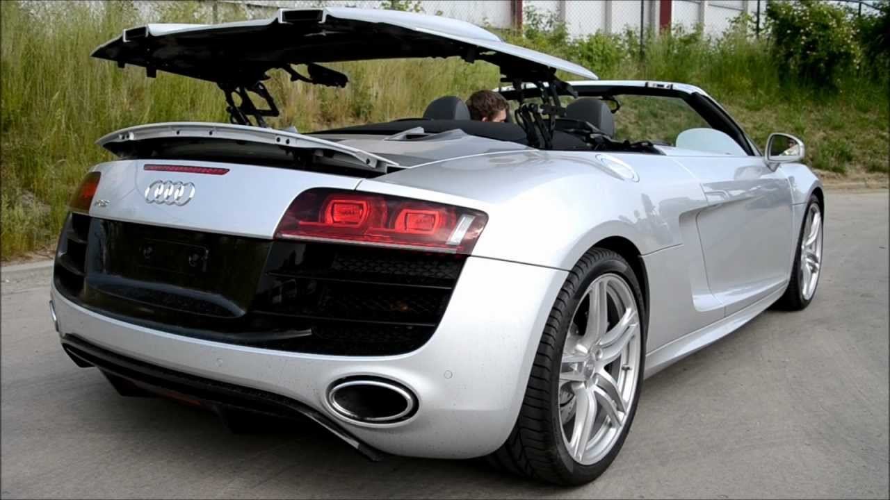Audi R8 V10 Spyder revving inside and outside + bonus roof opening