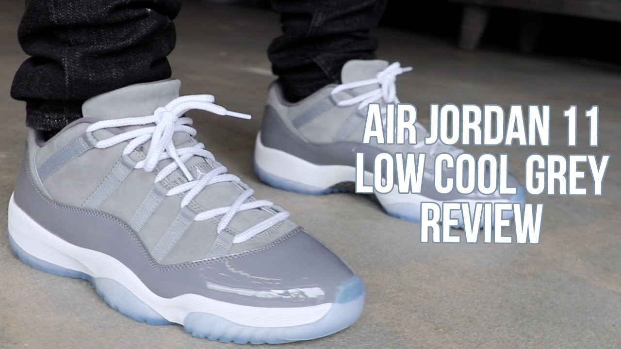 AIR JORDAN 11 LOW COOL GREY REVIEW! - YouTube 8d1cf7f3b