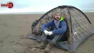 Samsun'da işsiz olan şahıs evden atılınca sahile çadır kurdu