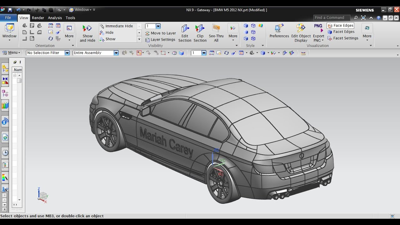 bmw car design and sweep alonguide curve in unigraphics nx