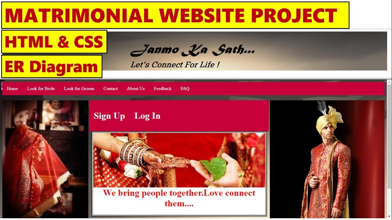 MATRIMONIAL WEBSITE || HTML & CSS || WEBSITE PROJECT || BLOCK & ER DIAGRAMS  || Site map || ppt