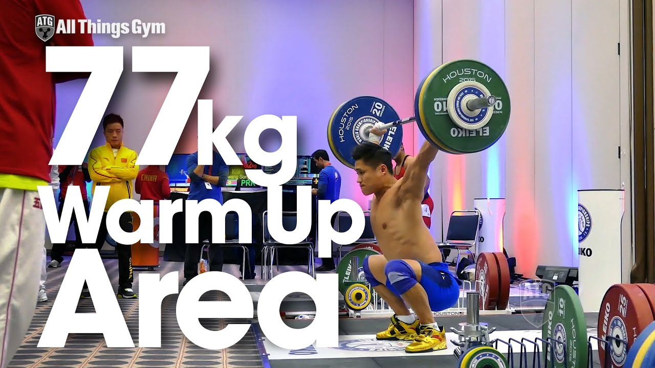 Download 77kg Warm Up Area with Lu Xiaojun 2015 World Weightlifting Championships