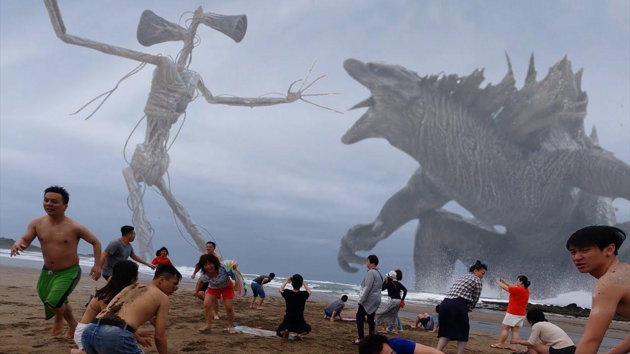 Godzilla vs. Siren Head in real life 哥吉拉大戰警笛頭