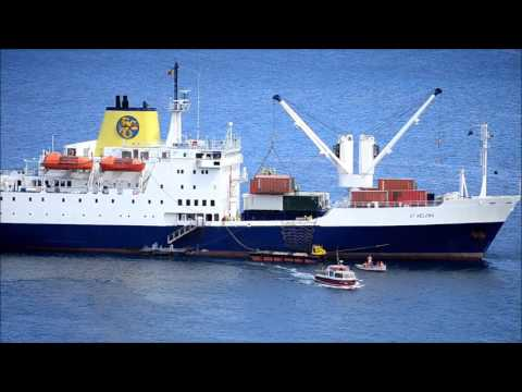Arrival of of RMS St  Helena in James Bay, St  Helena