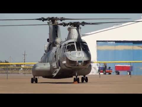 CH-46 Sea Knight Turning Up It's Engines
