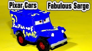 Pixar Cars Fabulous Sarge Custom Painted Diecast with Lightning McQueen Miss Fritter and Crazy 8 Car
