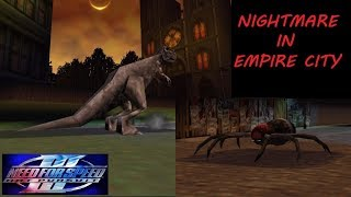 Special 1000th video in my channel. NFS3 Hot Pursuit T-Rex & Giant Spider Nightmare in Empire City