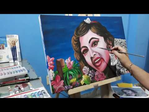 Old Poster Portrait Model Painting On Canvas – Acrylic Watercolor Art