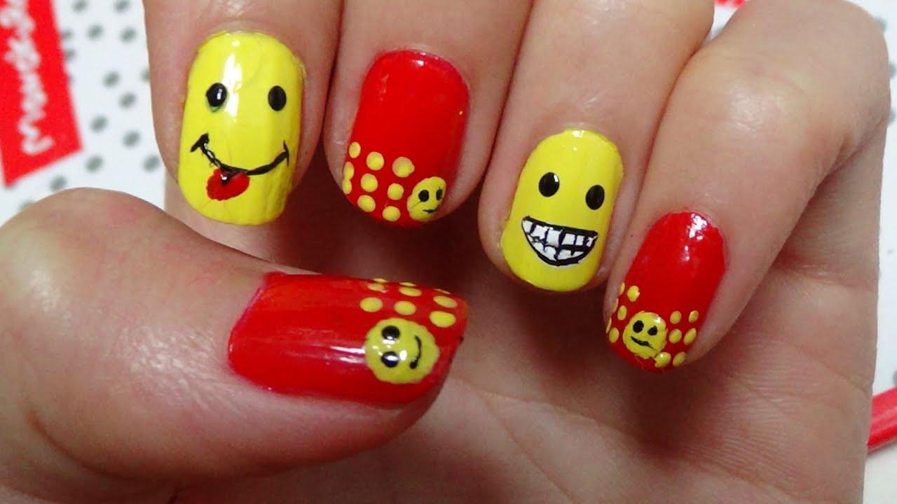 Smiley Face Nail Art Tutorial - YouTube