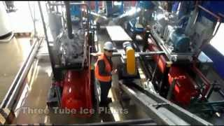 Tube ice plant with ice storage, ice movement and ice packing