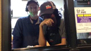 A mind reader picks up thoughts at a Taco Bell drive thru window.