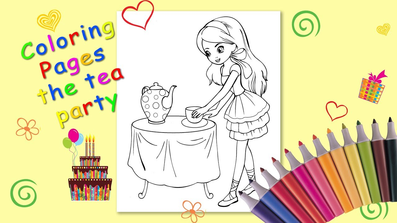 The tea party Coloring page. Coloring for kids. How to Draw the tea ...