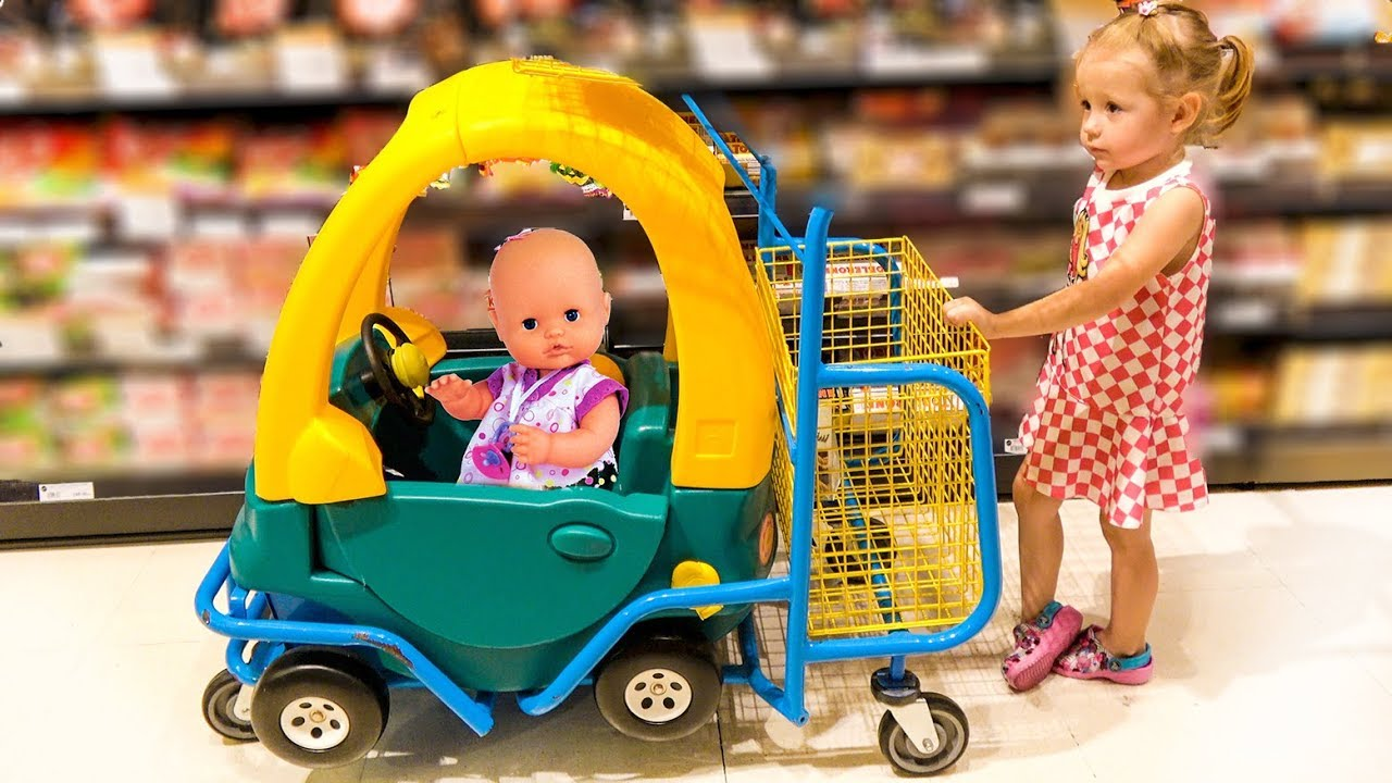 Toddler Fake Babies Nastya Pretend Play In Shopping With Baby Doll And Toys