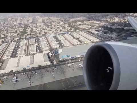 Emirates Flight Inside View|Take Off and Flying Over Dubai | Building,Sea and Clouds