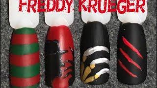 Freddy Krueger Nail Art   Halloween Nails (request)
