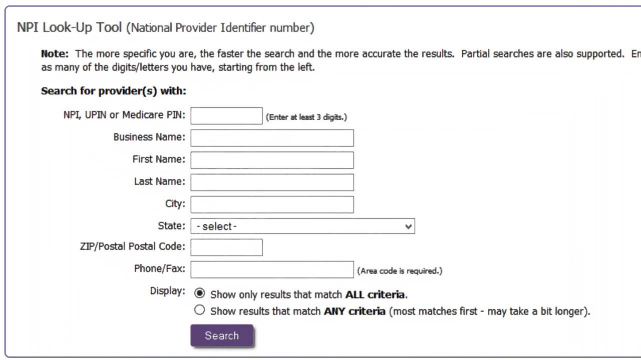 NPI (National Provider Identifier) Search on Find-A-Code ...