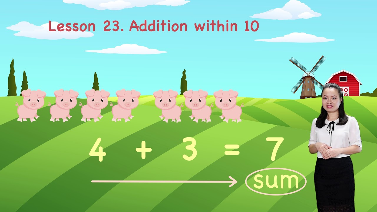 Math For Kids - Lesson 23. Addition within 10 | Kindergarten image