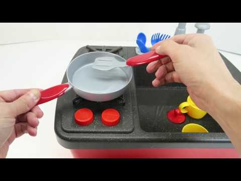 Stovetop Kitchen Faucet Playset with Real Working Water Sink and Stove Cooking