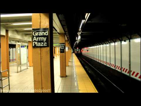 IRT Subway: R142 (2) and R62 (3) trains at Grand Army Plaza (Prospect Park North)
