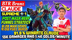 91.9 % WINRATE CLAUDE, 13K DAMAGES AND 1.4K GOLDS/MINUTE Supreme 1 Claude Branz - Mobile Legends