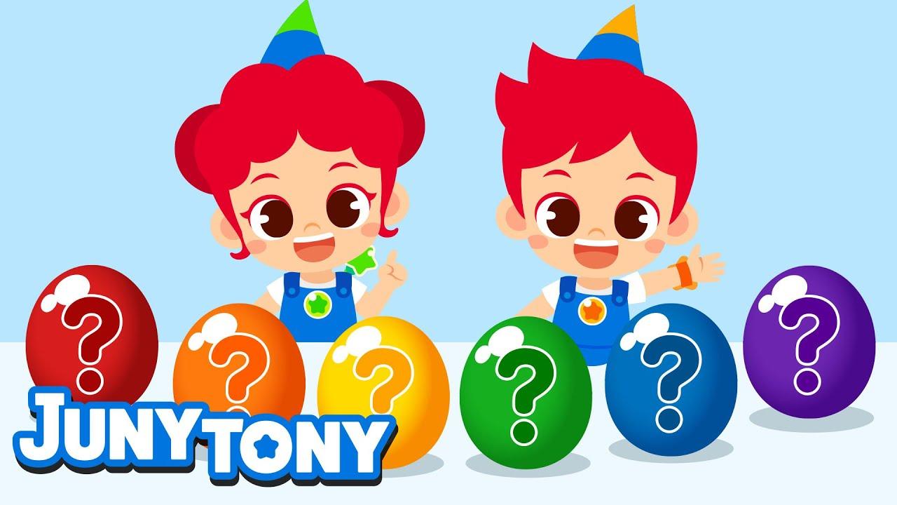 Rainbow Sweets Eating Show | Surprise Eggs | Color Songs for Kids | Preschool Songs | JunyTony