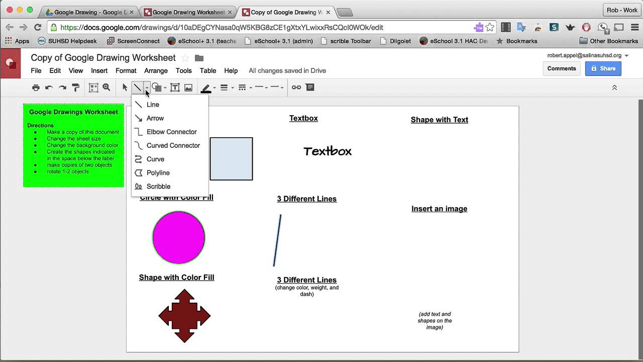 google drawing worksheet youtube