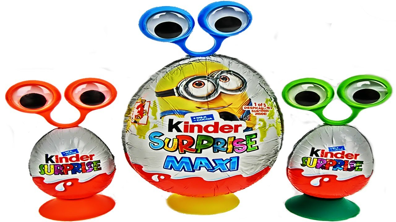 Unboxing 3 Kinder Surprise Eggs Googly Eyes Minions Maxi Chocolate Surprise Toys
