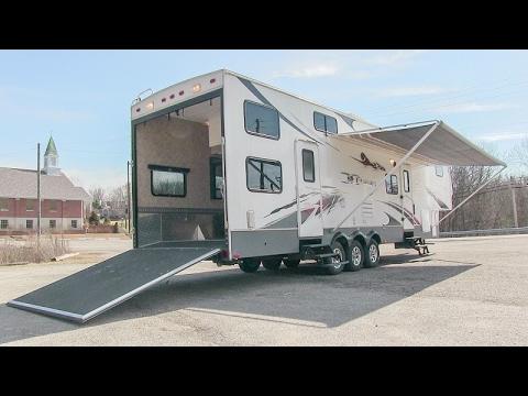 2008 Keystone Fuzion 362 toy hauler fifth wheel walk-around tutorial video