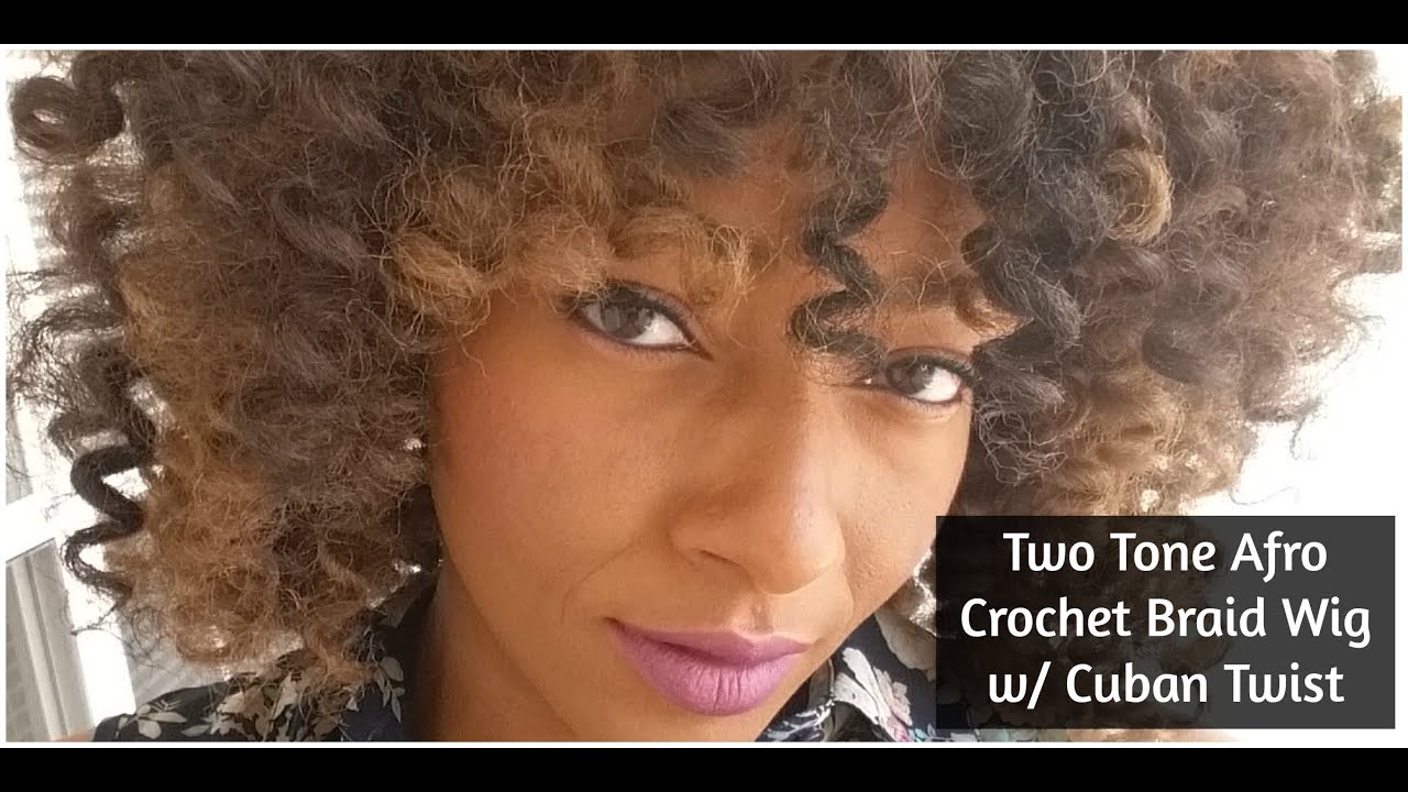 Two Tone Afro Crochet Braid Wig Cuban Twist