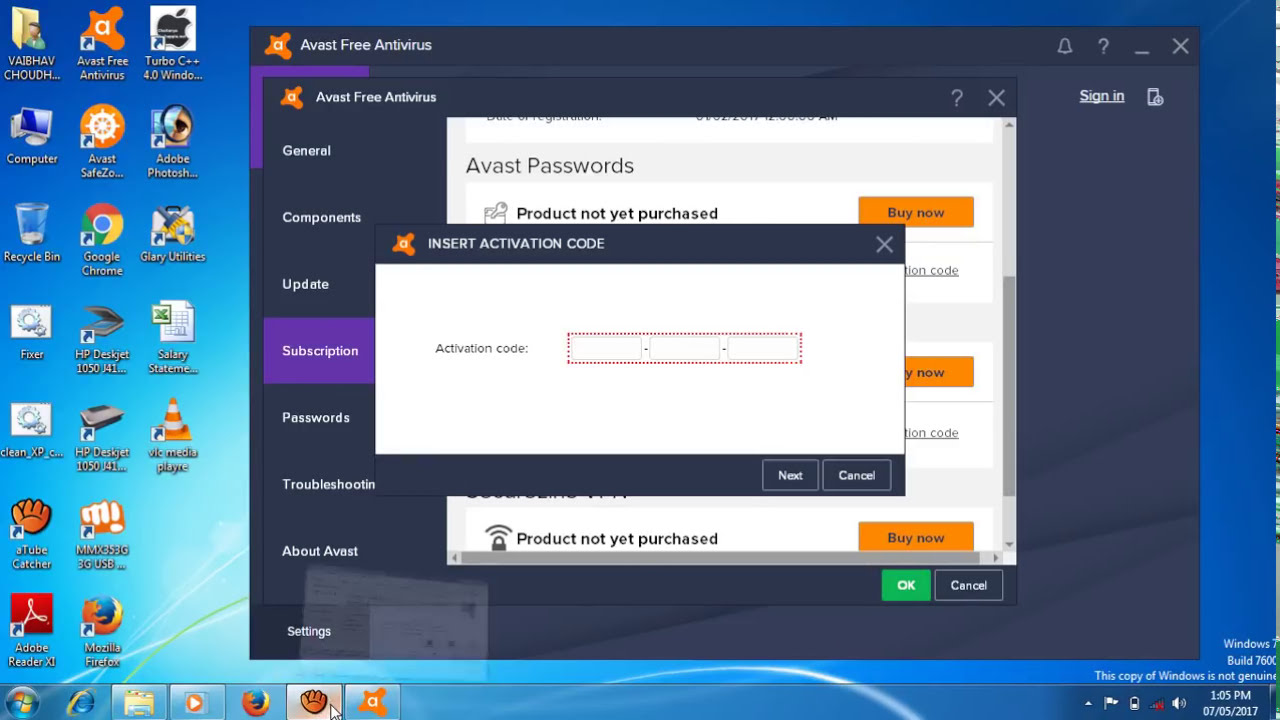 licencia avast password 2017