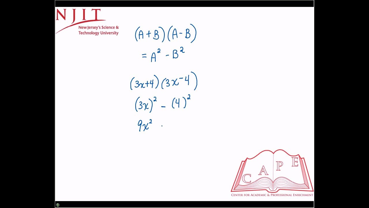 Binomial Product of the Sum and Difference of 2 Terms - YouTube
