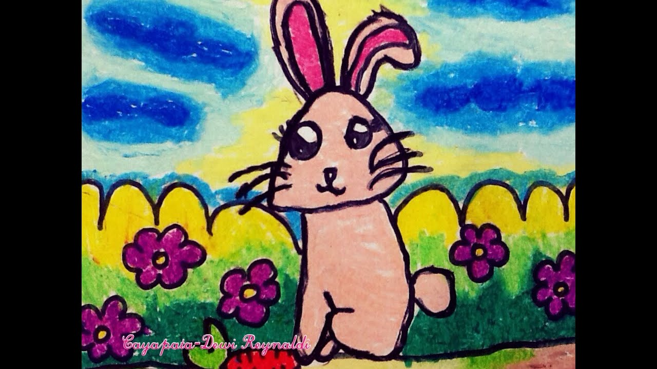 How to Draw Cartoon Bunny Rabbit for Kindergartens and Kids