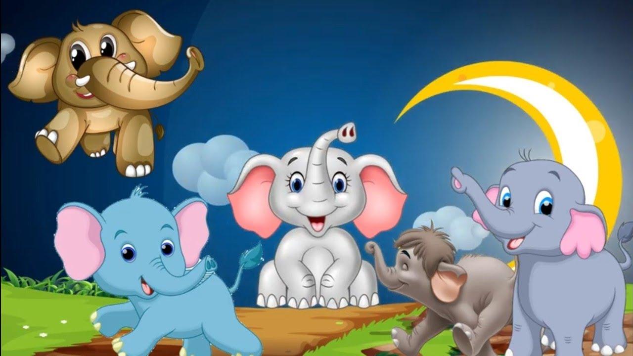 #155: Five little elephants | 5 little elephants went out | Elephant animation for kids | 12345