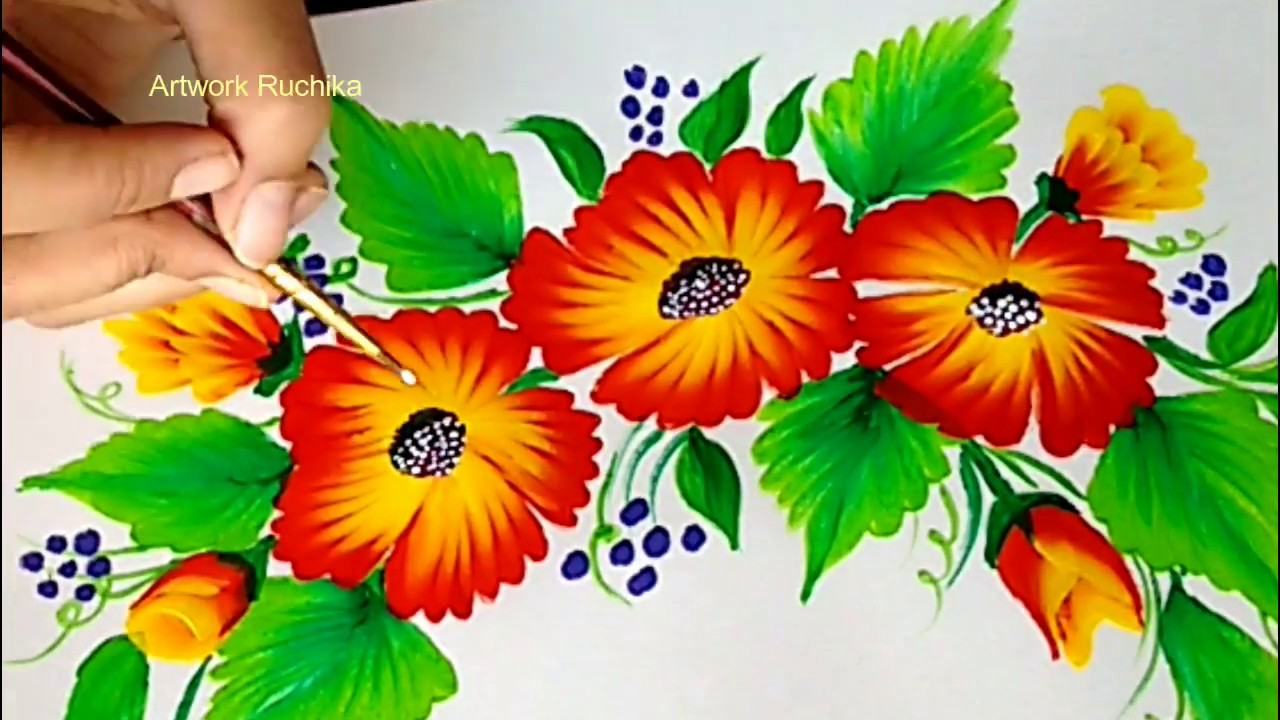 One Stroke Painting Tutorial for Beginners   Acrylic Painting - YouTube