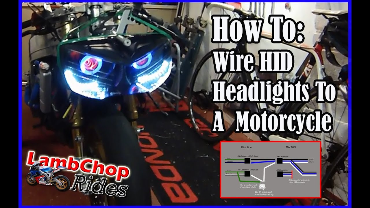 Wiring HID Headlights To A Motorcycle (both lights on, high & low beam)  YouTube