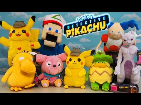 Detective Pikachu Movie Plush Complete Set Unboxing with Pokemon Trainer Puppet Steve