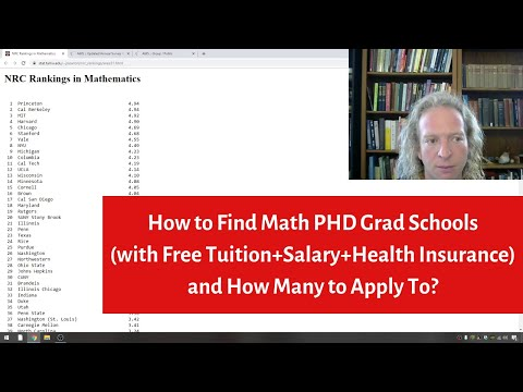 How To Find Math PHD Grad Schools(Free Tuition+Salary+Health Insurance) And How Many To Apply To?