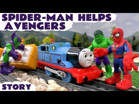 Spiderman Helps Marvel Avengers Hulk Thomas Train Accident | Minions Play Doh Banana Toy Unboxing