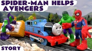 spiderman helps marvel avengers hulk thomas train accident   minions play doh banana toy unboxing