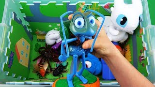 Toy Story, Cars, Toothless, Peppa Pig, Flik etc toys. Characters, insects & vehicles in learn colors