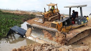 អាប៉ុលរុញដីធ្លាក់ក្នុងទឹកជ្រៅ | Bulldozer Accident Sink Underwater Recovery By Bulldozer \u0026 Excavator