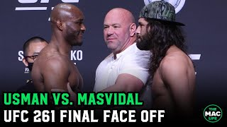 "Jorge Masvidal promises to ""knock this motherf****r out"" to Kamaru Usman at UFC 261 Final Face Off"