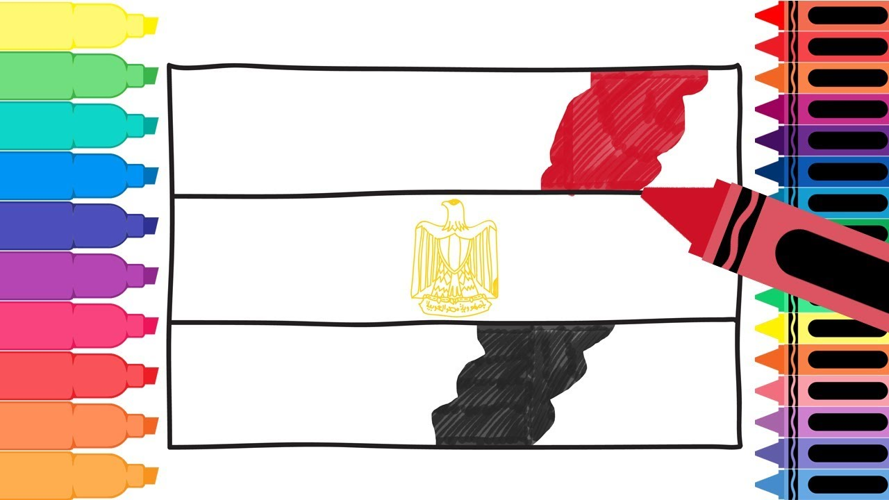 How to Draw Egypt Flag Drawing the Egyptian Flag Coloring Pages