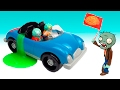 Plants vs Zombies mega race on the brains car Toys PlayCLayTV Plantas Contra Zombies Garden Warfare