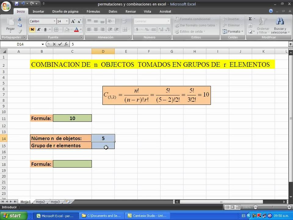 COMO CALCULAR COMBINACIONES Y PERMUTACIONES EN UNA HOJA DE CALCULO ...