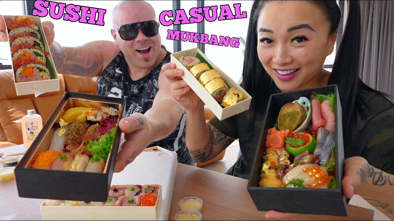 Download MOUTHWATERING SUSHI IN BANGKOK *CASUAL OMAKASE MUKBANG (LETS EAT) | SASVlogs