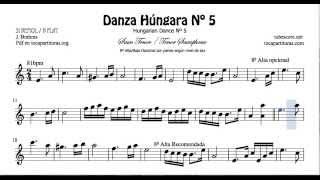 Danza Húngara Nº5 Partitura de Saxofón Tenor