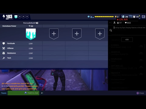 {Fortnite} save the world {crafting guns for matts} Races and missions after let's gooooo