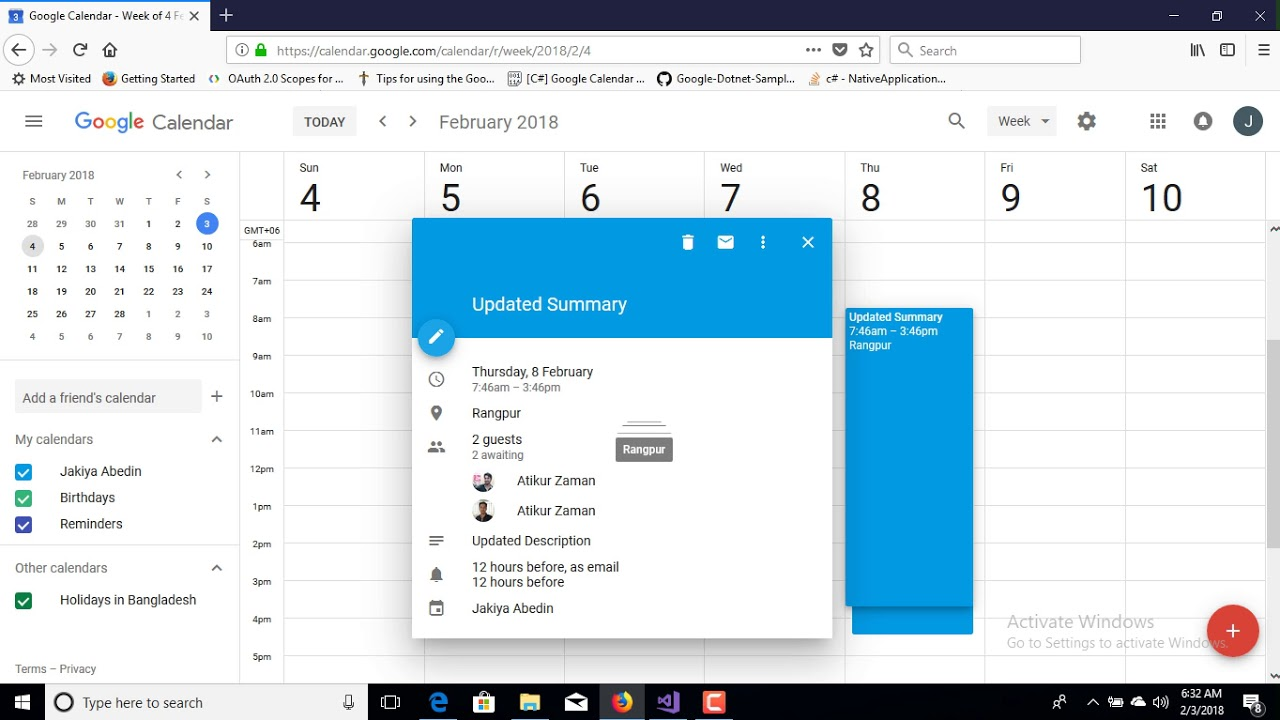 How to Insert, Update and Delete Google Calendar Event using Google  Calendar API with Google Oauth2
