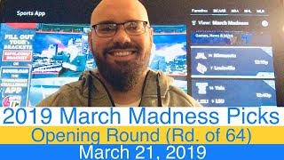 CBB Picks (3-21-19) | March Madness 2019 | Round of 64 | 1st Opening Rd | NCAA Basketball Tournament